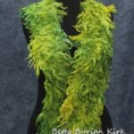 Shades of yellow-green locks felted into a scarf