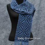 Hand woven with silk noil, overshot scarf