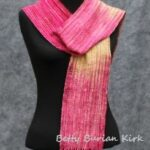 Hand woven magenta and yellow scarf