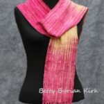 handwoven, hand painted red and yellow scarf