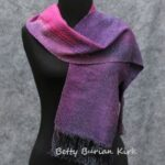Handwoven, hand painted red and purple scarf
