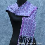 Handwoven, 8-shaft block twill in purple and blue