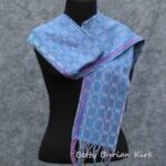 Handwoven, 8 shaft block twill in blue and purple