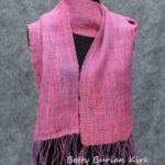 Handwoven scarf, pink with purple accents