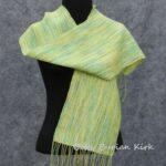 Yellow, Green, Variegated Warp Woven Scarf