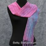 handwoven,, hand painted red and blue scarf