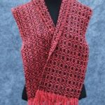 Handwoven with silk noil, red and black pattern scarf