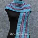 Woven red stripe blue rayon chenille scarf