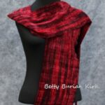 Woven red and black rayon chenille scarf
