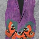 Purple felted scarf with butterflies