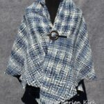 Blue and White Woven Triangle Shawl