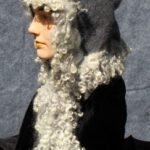 hand made felt hood with trim of gray locks