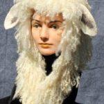 hand made felt hoood with wool locks and sheep ears