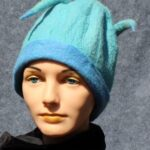 hand made felt, turquoise cloche with horns