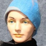 hand made felt, turquoise cloche with gray accents