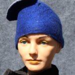 hand made felt, blue cloche with flap
