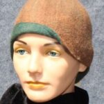 hand made felt, brown cloche with green accents