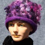 hand made felt hat with purple locks