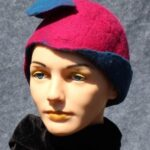 hand made felt magenta cloche with turquoise flap