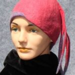 Hand made wool felt, pink cloche with long plumes