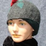 Hand made wool felt cloche, gray with red rose