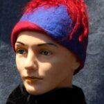Hand make wool felt, blue cloche with red shag