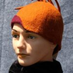 Hand made wool felt paprika cloche with plumes