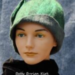 hand made wool felt hat, green with gray accents and flap